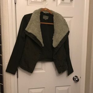 Anthropologie bomber jacket with Sherpa collar